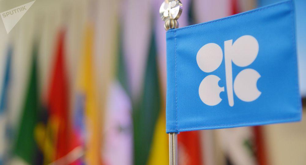 Flaga OPEC na posiedzeniu w Wiedniu