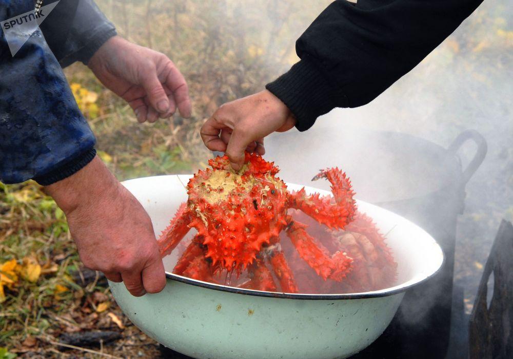Mieszkańcy wyspy Szykotan gotują kraba na otwartym ogniu