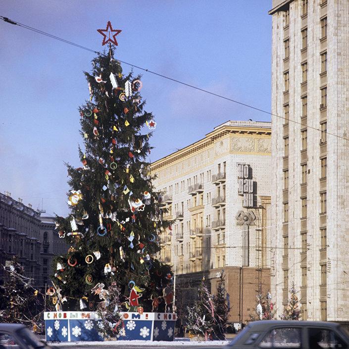 Noworoczna choinka na Placu Maneżowym w Moskwie
