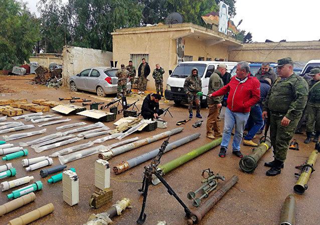 Skład broni pozostawiony przez terrorystów w prowincji Dara