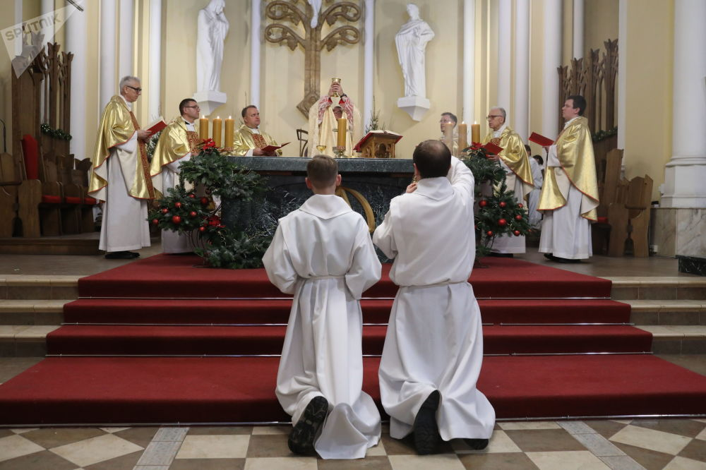 Msza święta w moskiewskim kościele