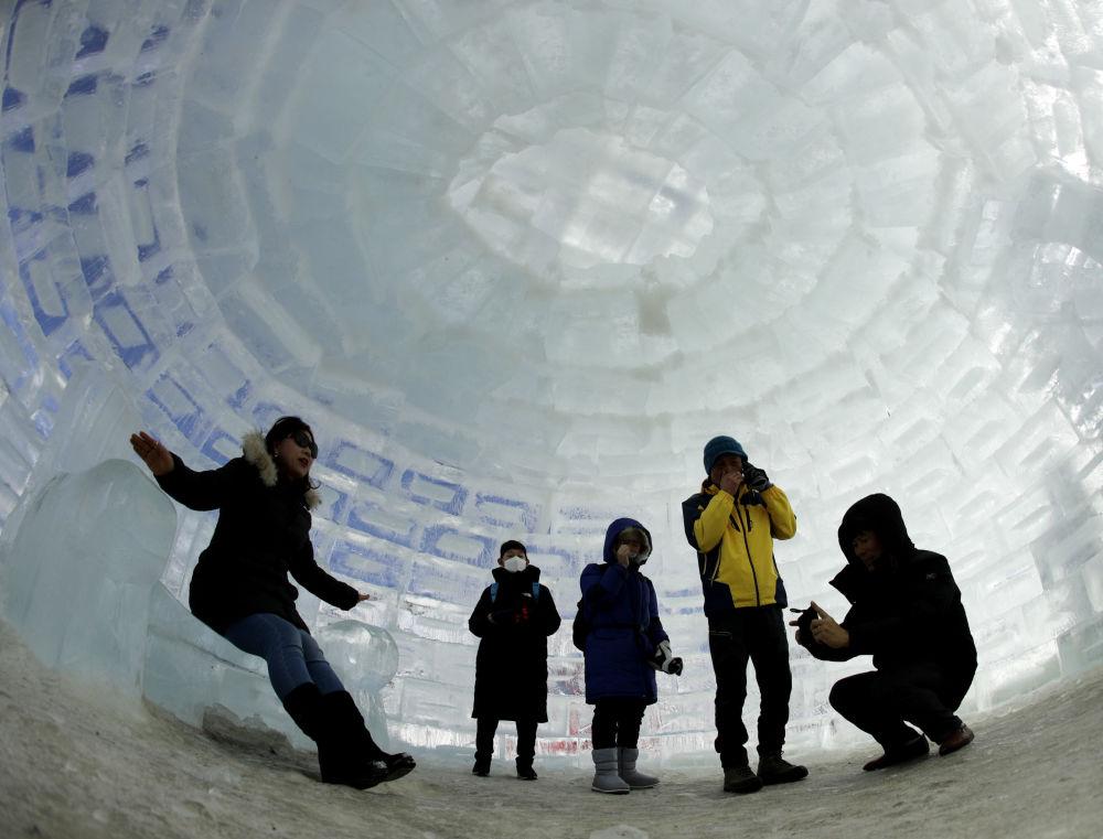Iglo zbudowane na Zimowe Igrzyska Olimpijskie w 2018 r. w Pjongczangu