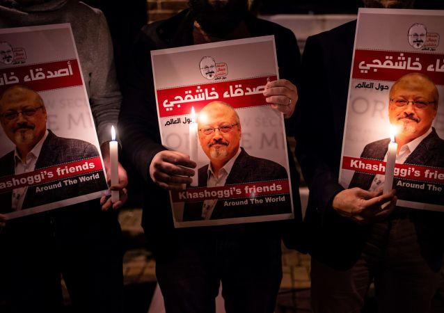 Akcja pamięci na cześć zamordowanego saudyjskiego dziennikarza Dżamala Chaszodżdżiego pod budynkiem konsulatu Arabii Saudyjskiej w Stambule