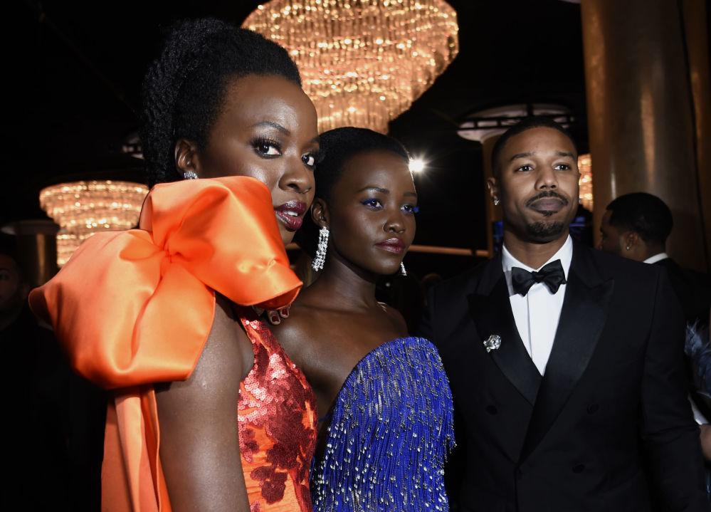 Aktorzy Danai Gurira, Lupita Nyong'o i Michael B. Jordan