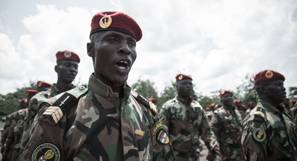 Poborowi środkowoafrykańskich sił zbrojnych w edukacyjnym centrum wojskowym w Berengo AFP 2018