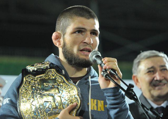 Rosyjski zawodnik mieszanych sztuk walki (MMA) Khabib Nurmagomedov. Zdjęcie archiwalne