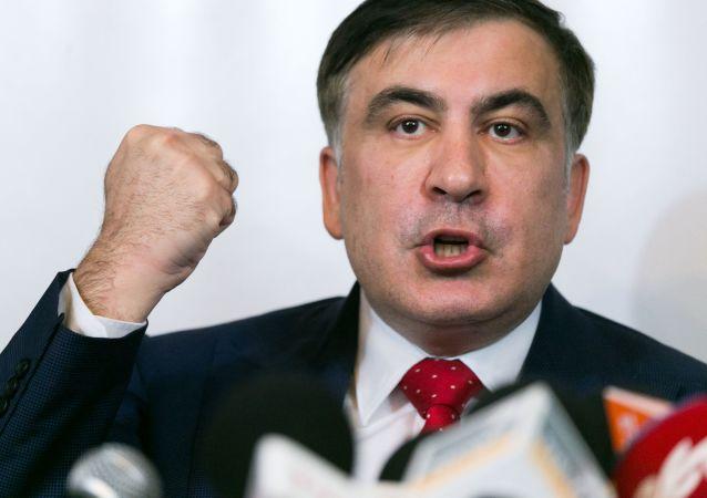 """Były gubernator obwodu odeskiego Ukrainy i przywódca partii politycznej """"Ruch nowych sił"""" Michaił Saakaszwili podczas konferencji prasowej"""