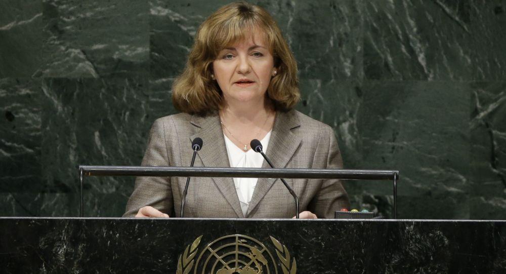 Szefowa resortu polityki zagranicznej Mołdawii Natalia Herman podczas przemówienia w ONZ