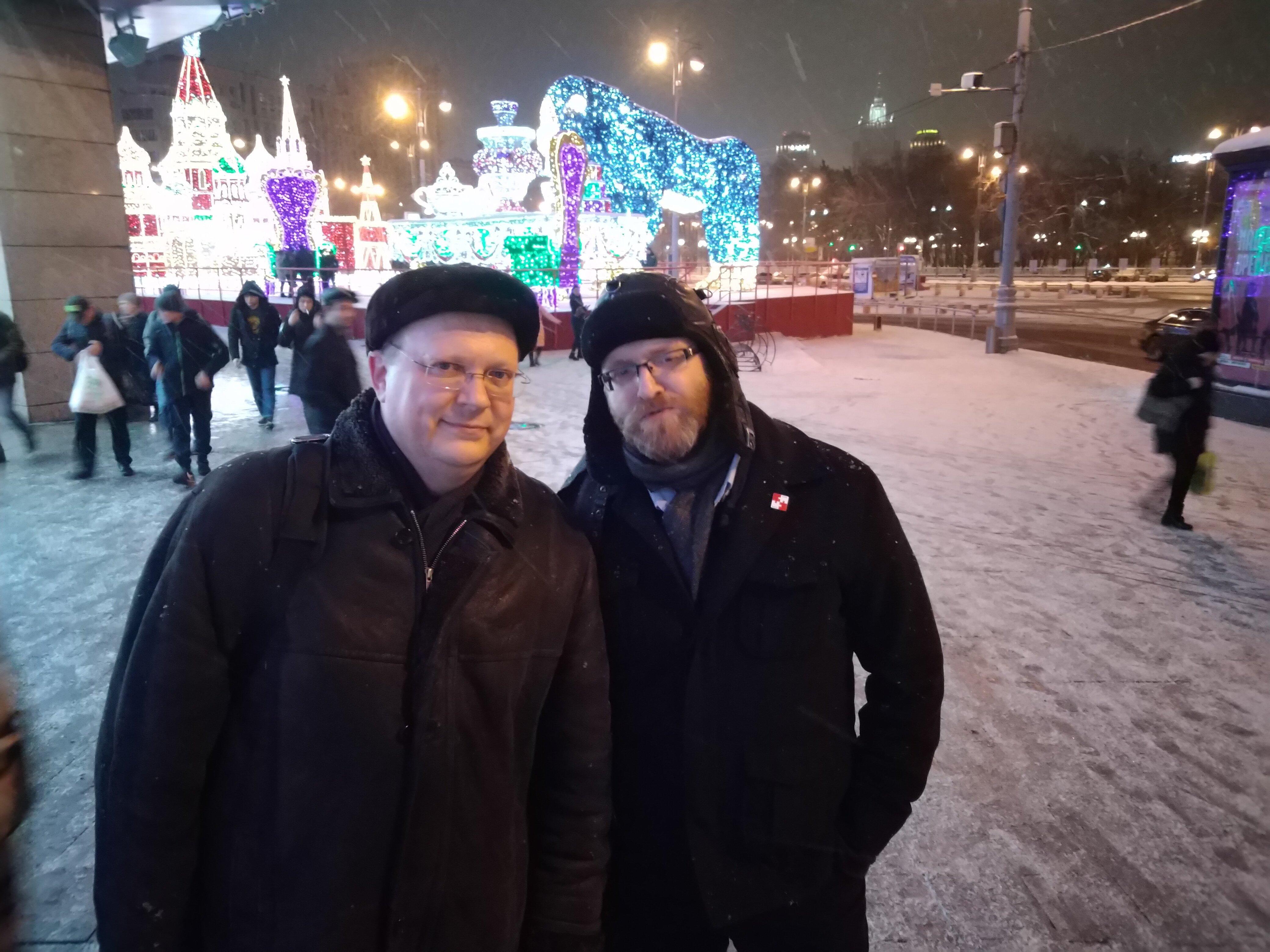 Polski reżyser Grzegorz Braun i rosyjski publicysta Leonid Swiridow. Grudzień 2018. Moskwa.