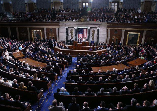 Prezydent USA Donald Trump podczas corocznego przemówienia do Kongresu w Waszyngtonie
