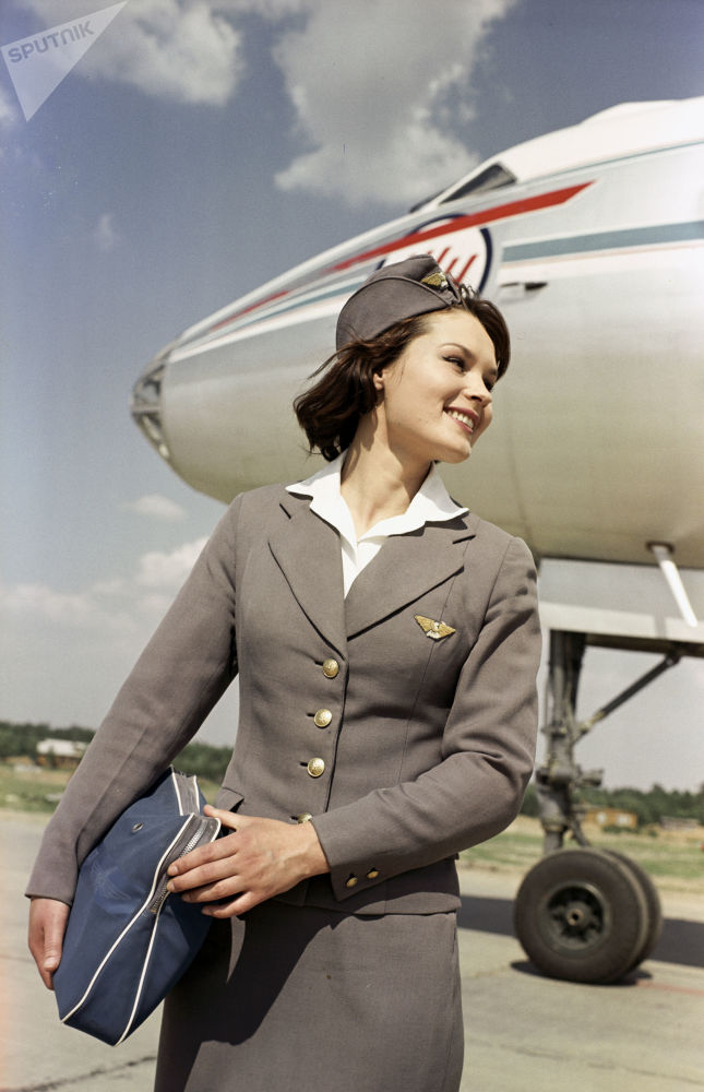 Stewardessa Aeroflotu w moskiewskim Wnukowie