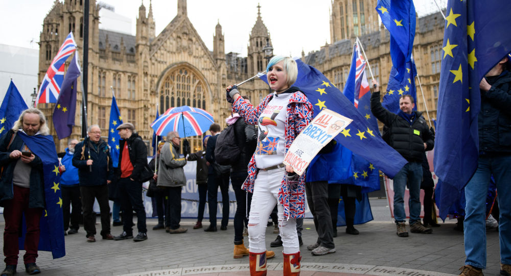 Uczestnicy protestu przeciwko Brexitowi pod brytyjskim parlamentem w Londynie