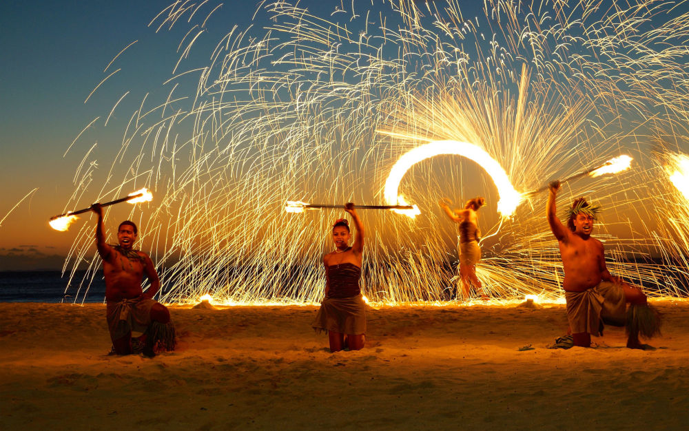 Pokaz ogni na wyspie Fidżi