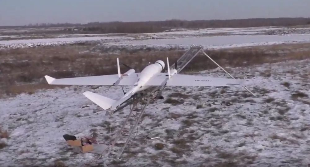 Białoruski dron na poligonie wojskowym